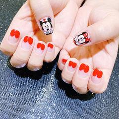 方圆形黑色红色手绘米奇可爱卡通心形法式美甲图片