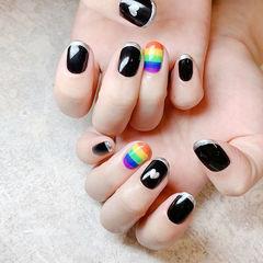 圆形黑色银色蓝色橙色手绘彩虹法式夏天美甲图片