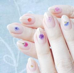 圆形裸色紫色玫红色橙色花朵ins美图分享,想学美甲咨询微信mjbyxs6哦~美甲图片