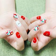 圆形红色白色手绘花朵ins美图分享,想学美甲咨询微信mjbyxs6哦~美甲图片