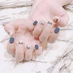 方圆形裸色灰色棕色手绘短指甲可爱美甲图片