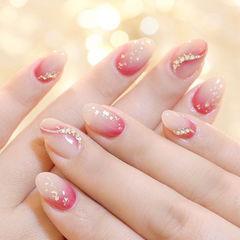 圆形粉色白色渐变晕染钻金箔新娘ins美图分享,想学美甲咨询微信mjbyxs6哦~美甲图片
