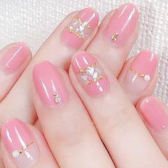 圆形粉色贝壳片金属饰品美甲图片