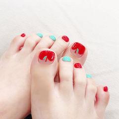 脚部红色蓝色手绘水果跳色夏天美甲图片