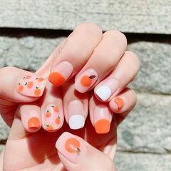方圆形橙色白色圆法式手绘水果夏天美甲图片