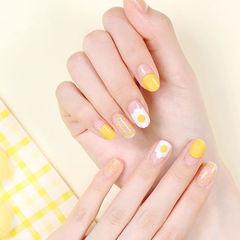 圆形黄色白色手绘鸡蛋波点圆法式夏天美甲图片