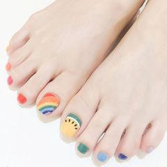 脚部红色黄色蓝色绿色手绘彩虹跳色夏天美甲图片