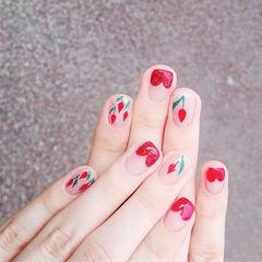 方圆形红色裸色手绘花朵心形法式想学习这么好看的美甲吗?可以咨询微信mjbyxs3哦~美甲图片
