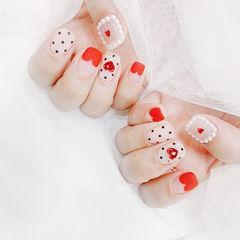 方圆形红色裸色波点心形法式珍珠磨砂美甲图片