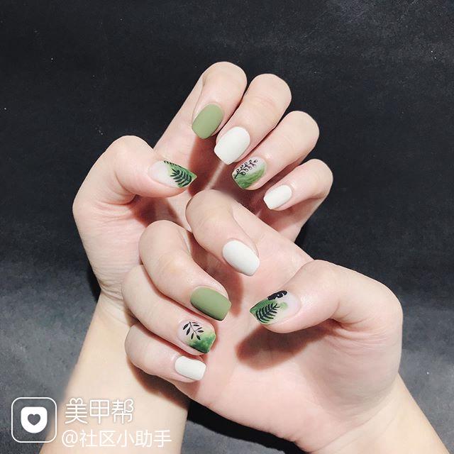 方圆形绿色白色黑色手绘树叶磨砂夏天美甲图片
