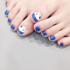 脚部蓝色白色手绘可爱夏天美甲图片