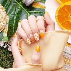 圆形橙色金色白色手绘水果圆法式夏天美甲图片