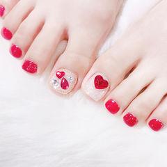 脚部红色银色钻想学习这么好看的美甲吗?可以咨询微信mjbyxs3哦~美甲图片