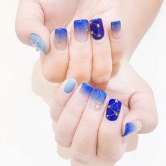 方圆形蓝色渐变金属饰品美甲图片