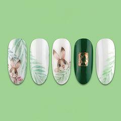 圆形绿色白色棕色手绘兔子树叶可爱夏天美甲图片