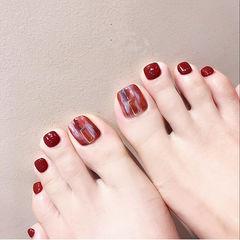 脚部红色晕染新娘显白分享ins美图美甲图片