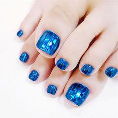脚部蓝色韩式夏天美甲图片