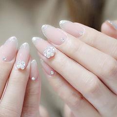 圆形裸色银色法式珍珠钻新娘想学习这么好看的美甲吗?可以咨询微信mjbyxs3哦~美甲图片