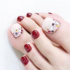 脚部红色白色钻新娘想学习这么好看的美甲吗?可以咨询微信mjbyxs3哦~美甲图片