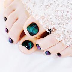 脚部黑色绿色紫色猫眼想学习这么好看的美甲吗?可以咨询微信mjbyxs3哦~美甲图片