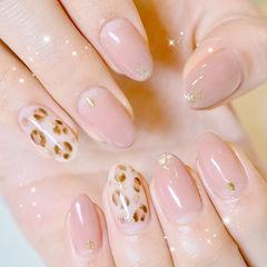 圆形粉色棕色手绘豹纹金箔想学习这么好看的美甲吗?可以咨询微信mjbyxs3哦~美甲图片
