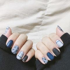 方圆形蓝色黑色手绘豹纹格纹磨砂想学习这么好看的美甲吗?可以咨询微信mjbyxs3哦~美甲图片