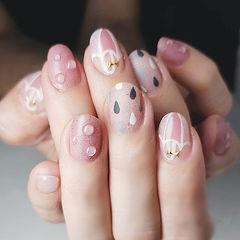圆形粉色手绘水滴夏天想学习这么好看的美甲吗?可以咨询微信mjbyxs3哦~美甲图片