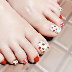 脚部红色白色手绘水果樱桃夏天想学习这么好看的美甲吗?可以咨询微信mjbyxs3哦~美甲图片