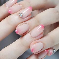 圆形粉色裸色渐变钻简约想学习这么好看的美甲吗?可以咨询微信mjbyxs3哦~美甲图片