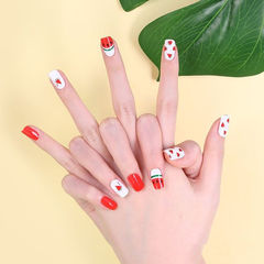 方圆形红色白色手绘水果夏天西瓜想学习这么好看的美甲吗?可以咨询微信mjbyxs3哦~美甲图片