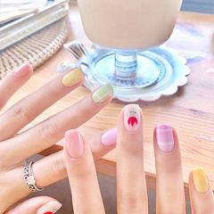 方圆形粉色绿色黄色手绘花朵格纹跳色夏天美甲图片