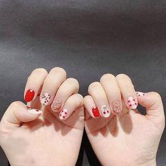 圆形红色白色手绘樱桃格纹钻想学习这么好看的美甲吗?可以咨询微信mjbyxs3哦~美甲图片