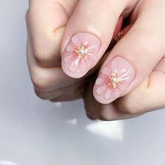 圆形粉色手绘花朵珍珠金箔美甲图片
