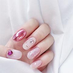 圆形粉色裸色钻镜面想学习这么好看的美甲吗?可以咨询微信mjbyxs6哦~美甲图片