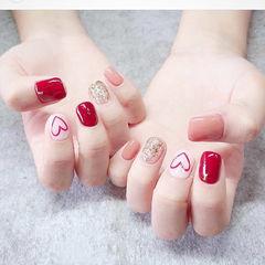 方圆形红色粉色银色心形跳色想学习这么好看的美甲吗?可以咨询微信mjbyxs6哦~美甲图片