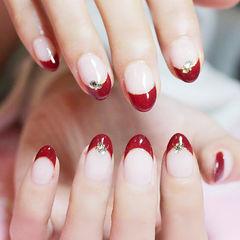 圆形红色钻法式新娘简约想学习这么好看的美甲吗?可以咨询微信mjbyxs6哦~美甲图片