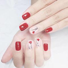 方圆形红色白色手绘花朵新娘想学习这么好看的美甲吗?可以咨询微信mjbyxs6哦~美甲图片