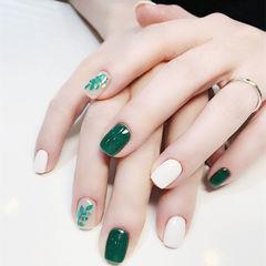 方圆形绿色白色亮片树叶夏天跳色美甲图片