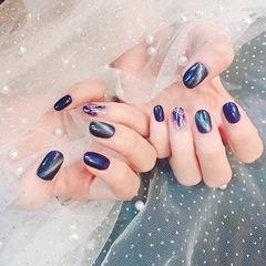 圆形蓝色紫色晕染猫眼想学习这么好看的美甲吗?可以咨询微信mjbyxs6哦~美甲图片