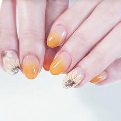 圆形橙色黄色手绘花朵渐变美甲图片