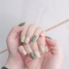 方圆形绿色贝壳片夏天分享ins美图美甲图片