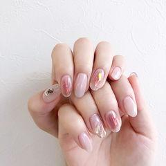 圆形粉色晕染碎玻璃想学习这么好看的美甲吗?可以咨询微信mjbyxs6哦~美甲图片
