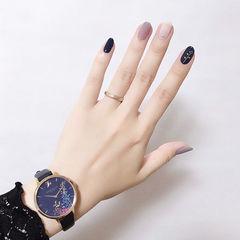 圆形蓝色紫色白色跳色想学习这么好看的美甲吗?可以咨询微信mjbyxs6哦~美甲图片