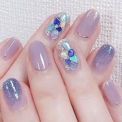 圆形紫色渐变贝壳片想学习这么好看的美甲吗?可以咨询微信mjbyxs6哦~美甲图片