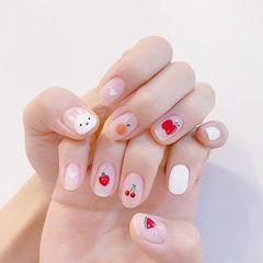 圆形红色白色橙色手绘兔子樱桃水果可爱想学习这么好看的美甲吗?可以咨询微信mjbyxs6哦~美甲图片