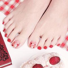 脚部红色贝壳片新娘显白想学习这么好看的美甲吗?可以咨询微信mjbyxs6哦~美甲图片