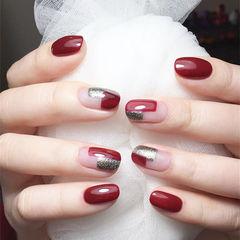 方圆形红色银色新娘想学习这么好看的美甲吗?可以咨询微信mjbyxs6哦~美甲图片