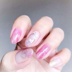 圆形粉色晕染贝壳片想学习这么好看的美甲吗?可以咨询微信mjbyxs6哦~美甲图片