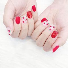 方圆形红色手绘水果西瓜磨砂夏天想学习这么好看的美甲吗?可以咨询微信mjbyxs6哦~美甲图片