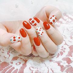 圆形红色白色手绘水果樱桃格纹想学习这么好看的美甲吗?可以咨询微信mjbyxs6哦~美甲图片